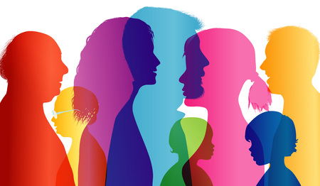 Dialogue between people of different ages. Talking crowd. Colored silhouette profiles. Comparison of people. Vector Multiple exposure Illustration