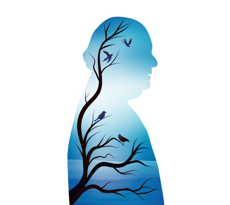 Concept of senile dementia - alzheimer. Silhouette of a senior woman with a tree and a branch