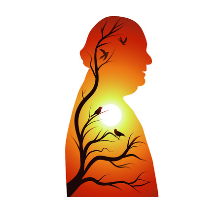 Concept of senile dementia - alzheimer. Silhouette of senior with sunset or sunrise - sun - branches and birds