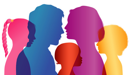 Family concept. Profiles with mom - dad - little boy - girl. Colored silhouette. Multiple exposure. Vector