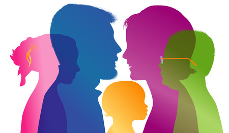 Family concept. Profiles with mom - dad - little boy - girl. Colored silhouette. Vector. Multiple exposure Çizim