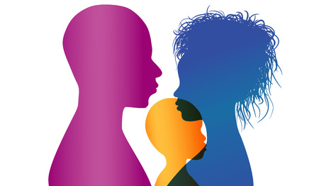 Adoption. Young African American or African-American parents adopt an African or African American child. Vector color profile silhouette  イラスト・ベクター素材