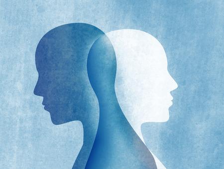 Zaburzenia afektywne dwubiegunowe umysłowe. Rozdwojenie jaźni. Zaburzenia nastroju. Koncepcja podwójnej osobowości. Sylwetka na niebieskim tle