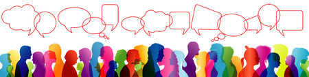 Crowd talking. Speech between people. To communicate. Group of people colored profile silhouette. Speech bubble. Speaking