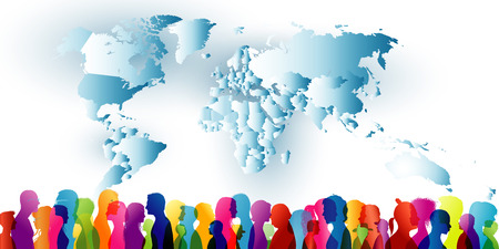 Crowd of ethnic people standing together. Group of different people. Diversity of people. Community. Colored silhouette profiles with world map