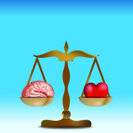3d heart and brain concept on balance. Blue background