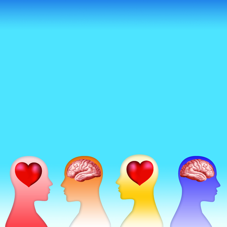 3d heart and brain concept with human head silhouette