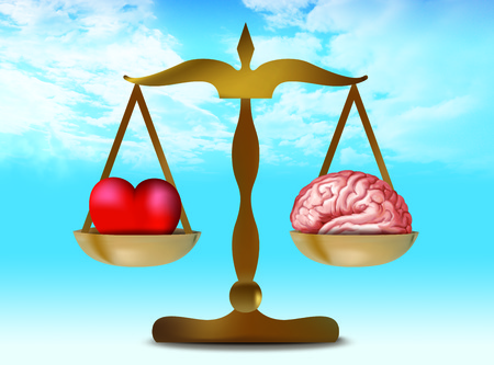 3d illustration with brain heart on balance. Sky whit nubes background