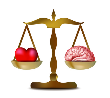 Illustration with 3d heart and brain on isolated balance Reklamní fotografie