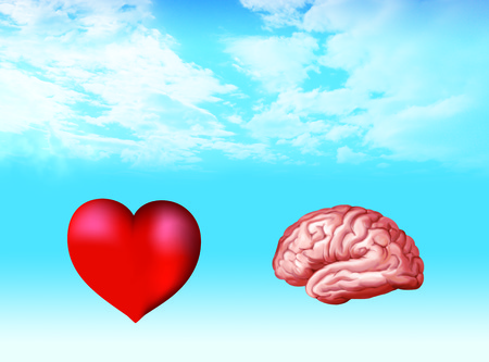 Illustration with isolated 3d brain and 3d heart on nubes background