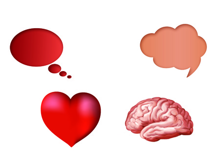 Illustration with isolated 3d heart and 3d brain with nubes Stock Photo
