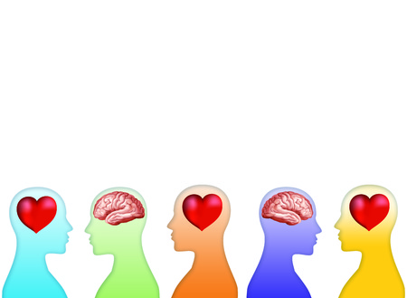 Isolated 3d heart and brain concept with human head silhouette