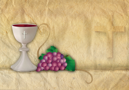 Christian symbols with 3d chalice and grapes Stockfoto