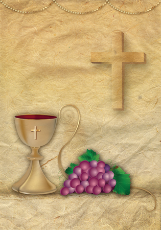 Card Christian symbols with 3d grapes and chalice. Golden ornaments