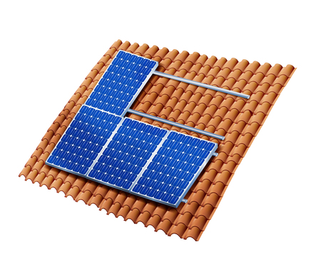 Isolated roof assembling photovoltaic solar panels. Solar panels installation. 3D illustration Archivio Fotografico - 113583434