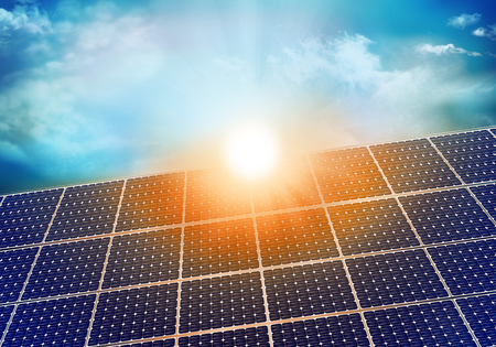 Solar photovoltaic panel with sun reflection at sunset. Background with sky and clouds. 3D illustration Reklamní fotografie