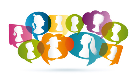 Vector colored Speech bubble. Communication between people. Crowd talking. Group of people talking. Profile silhouette
