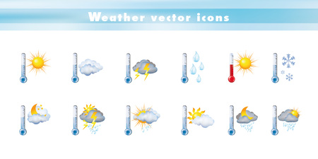 Set of vector icons with thermometer and weather forecast. 3d illustration. Symbols and signs meteorology - climate - temperatures Illustration