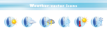 Set of vector icons with thermometer and weather forecast. Symbols and signs meteorology - climate - temperatures. 3d illustration