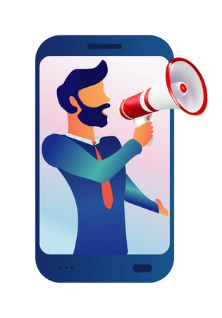 Carácter de hombre de ilustración vectorial gritando con megáfono. Aviso desde el móvil. Uso para aplicación web móvil-plantilla- interfaz de usuario - póster - folleto - banner