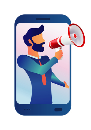 Vector illustration man character shouting with megaphone. Notice from mobile. Use for mobile web app-template- ui - poster - flyer - banner Ilustração