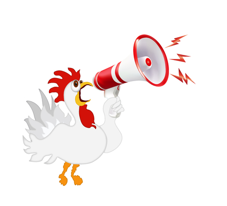 White rooster screaming in a megaphone. Humorous vector isolated illustration