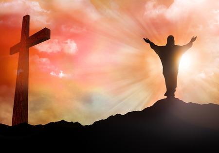 Resurrection. Jesus Christ silhouette. Christian Easter concept. Sunset with rays of light. 3d illustration