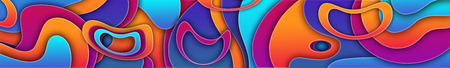 Abstract curvilinear high-colored background. 3d illustration with bright colors and warped concentric circles