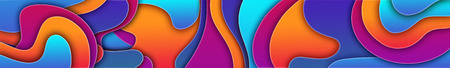 Abstract curvilinear high-colored background. 3d illustration with bright colors Banco de Imagens