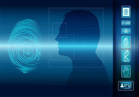 Biometric electronic system for the identification of individual identity. Fingerprint scan. Face of man in profile silhouette. Icons Id-eye-barcode-dna-passport