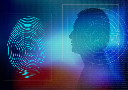 Biometric electronic system for human identification. Profile with man face in profile silhouette and fingerprint