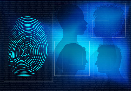 Biometric electronic system for the identification of individual identity. People in profile silhouette and fingerprint