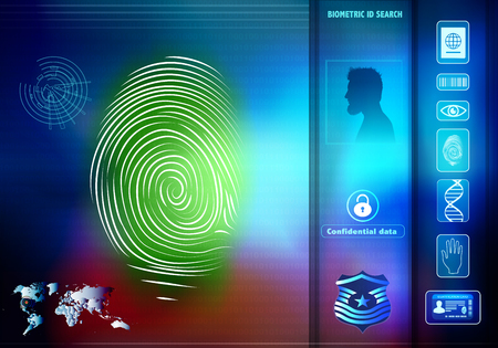 Security data access for human biometric identification. Silhouette with man profile with green fingerprint Stock Photo