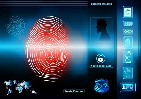 Security data access with human biometric identification. Silhouette with man profile with red fingerprint