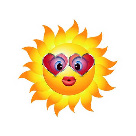 Cartoon sun sending a kiss. Emoticon with heart-shaped trend sunglasses. Vector 3d illustration Ilustrace
