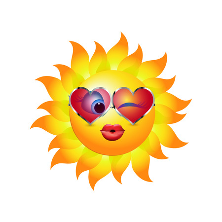 Beso de dibujos animados de sol con gafas de sol de tendencia en forma de corazón. Emoticon besos y guiños. Ilustración vectorial 3d Ilustración de vector