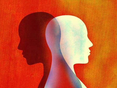 Concept mental d'esprit de trouble bipolaire. Changement d'humeur. Émotions. Dédoublement de la personnalité. Double personnalité. Tête silhouette d'homme