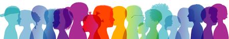 Rainbow group of children in colorful silhouette. Communication between multi-ethnic children. Children talking. Colored heads. Multiple exposure Foto de archivo - 118616388