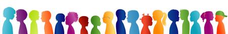 Silhouette group of colored profile children. Communication between multi-ethnic children. Children talking Foto de archivo - 118616389