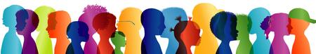 Silhouette group of colored profile children. Multiple exposure. Communication between multi-ethnic children. Children talking Foto de archivo - 118616390