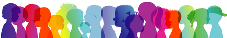 Silhouette of modern children in rainbow colored profile. Communication between multi-ethnic children. Children talking. Multiple exposure 版權商用圖片 - 118616392