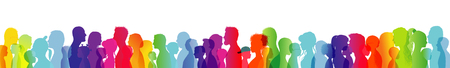 Dialogue between people of different ages and ethnic groups. Crowd talking. Rainbow colored profile silhouette. Many different people talking. Diversity between people. Multiple exposure Stockfoto