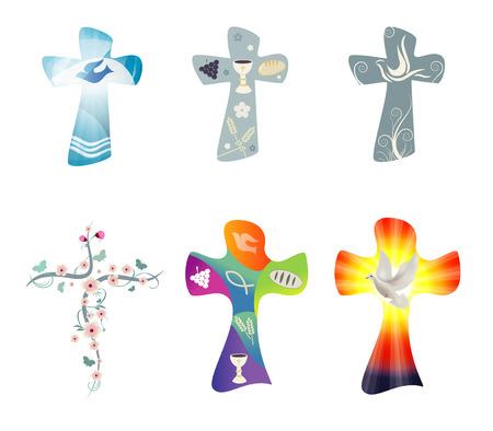 Stellen Sie moderne isolierte Vektorchristliche Kreuze ein. Kreuzsammlung mit Symbolen des Christentums. Religiöse Zeichen