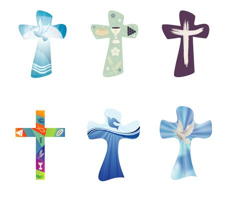 Stellen Sie moderne isolierte Vektorchristliche Kreuze ein. Religiöse Zeichen. Kreuzsammlung mit Symbolen des Christentums Vektorgrafik