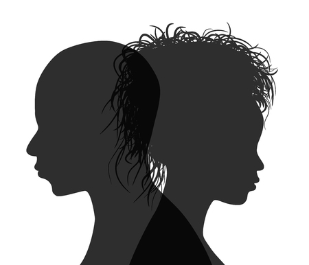African American couple profile silhouette isolated. Vector Illustration