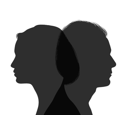 Divorce concept. End of the wedding. Isolated couple silhouette. Separation between groom and bride. Divorced man and woman Illustration