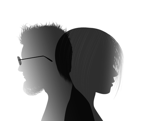 Divorce concept. End of the wedding. Separation between groom and bride. Divorced man and woman. Isolated couple silhouette Illustration