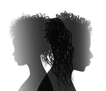 Isolated African American couple silhouette. Divorced man and woman. Divorce concept. End of the wedding. Separation between groom and bride Illustration