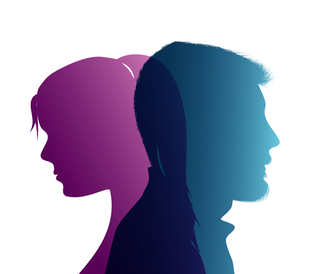 Isolated couple colored silhouette. Divorce concept. End of the wedding. Separation between groom and bride. Divorced man and woman 矢量图片