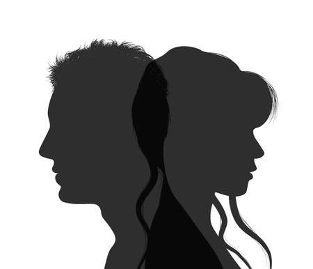 Isolated couple silhouette. Divorce concept. End of the wedding. Separation between groom and bride. Divorced man and woman